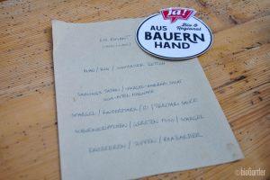Handgeschrieben, die Speisekarte