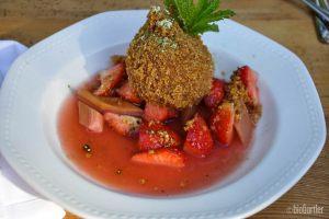 Topfen-Matchaknödeln mit Erdbeer-Rhabarber Kompott